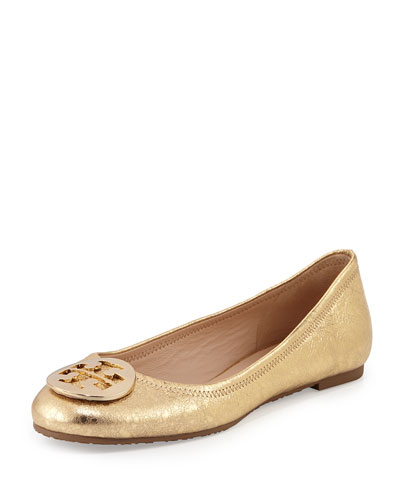 Reva Metallic Ballerina Flat, Saharan Gold