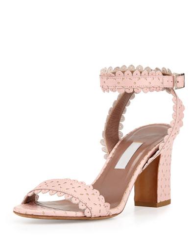 Leticia Scalloped Ankle-Wrap Sandal