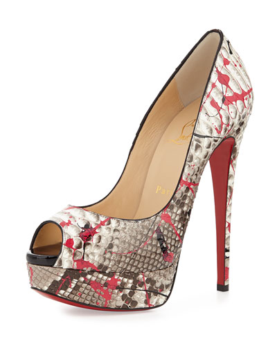 Lady Peep Python Red Sole Pump, Fuchsia/Black