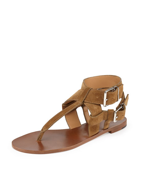 f3716fa892d Burberry Suede Double-Buckle Thong Sandal