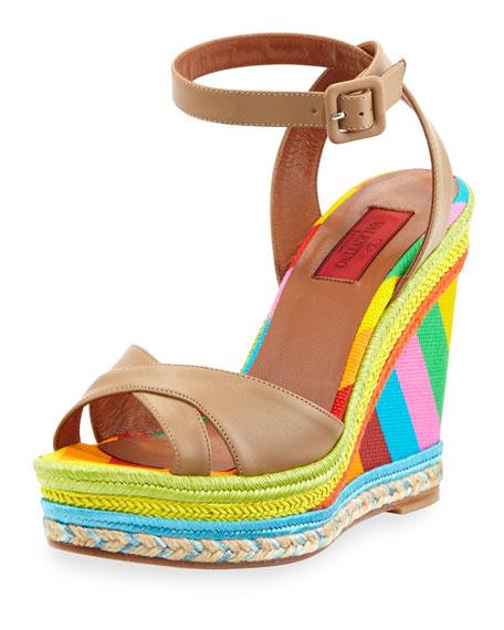 67b0855e5e8 Valentino Multicolor Espadrille Wedge Sandal