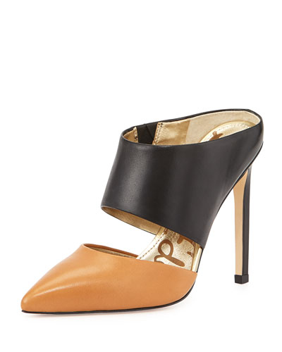 Monroe Leather Mule, Camel/Black