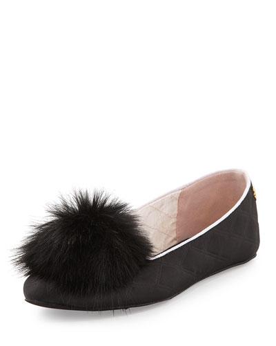 Iveye Satin Slipper with Faux-Fur Pom, Black
