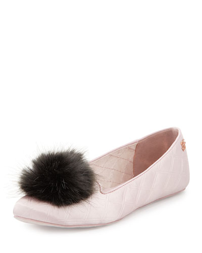 Iveye Satin Slipper with Faux-Fur Pom, Light Pink