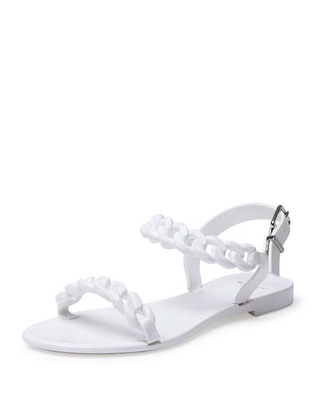Sandal Link Chain Jelly White Flat BdxeroC