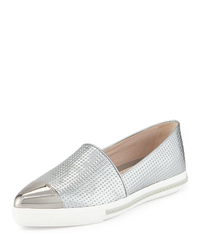 Embossed Leather Cap-Toe Loafer, Argento