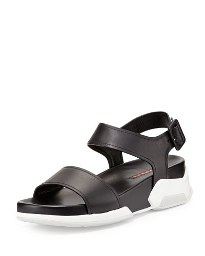 Leather Upper Rubber Bottom Sandal, Nero/Bianco