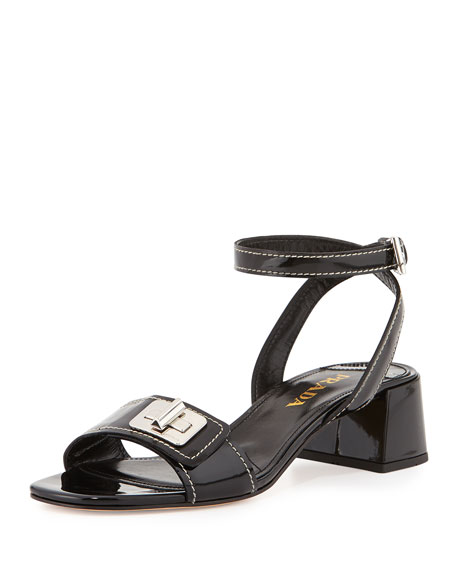Prada Patent Turnlock Ankle-Wrap Sandal