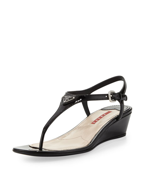 fake for sale online Prada Patent Leather Thong Wedges pre order quality free shipping for sale MyXeM