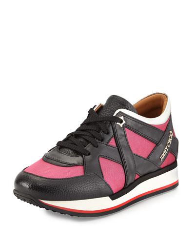 London Lace-Up Sneaker, Geranium/Black