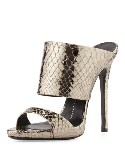 Metallic Python-Embossed Slide Sandal, Anthracite