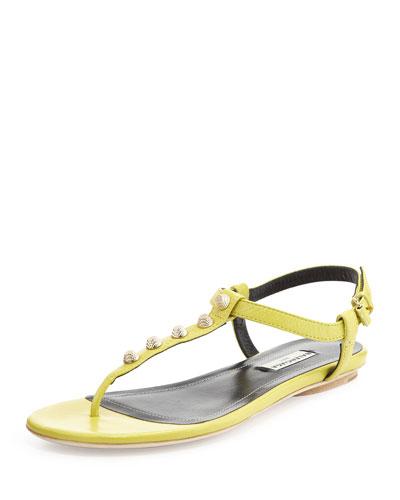 Golden Studded Thong Sandal, Yellow Green