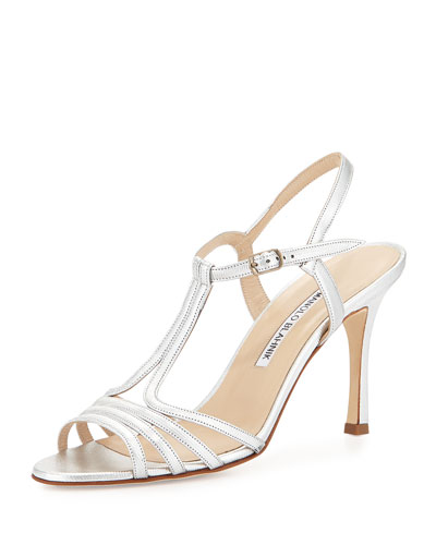 Rebuf Metallic Leather Sandal, Silver