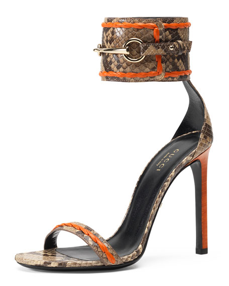 fd4580711b8 Gucci Ursula Python Ankle-Wrap Sandal