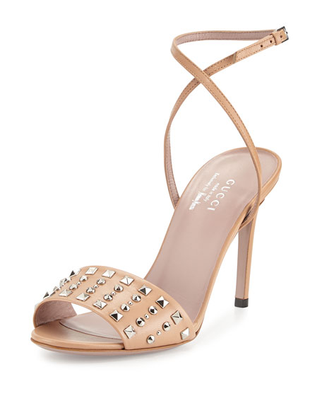7f7730ab6 Gucci Coline Studded-Leather Ankle-Strap Sandal