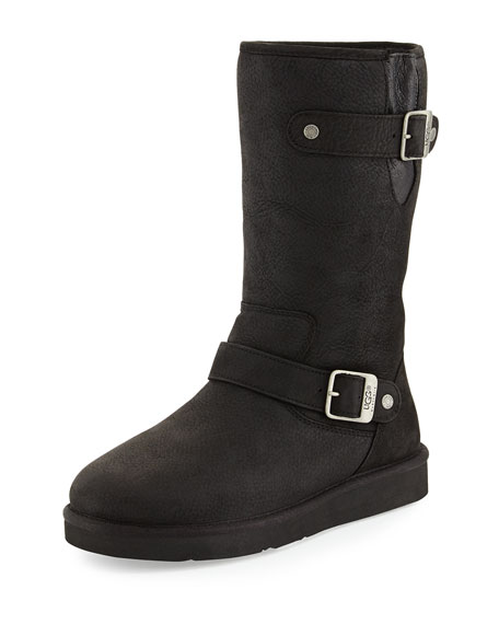 Sutter Sheepskin Moto Boot, Black