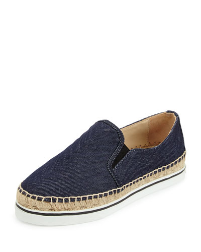 Dawn Zebra-Embossed Denim Espadrille