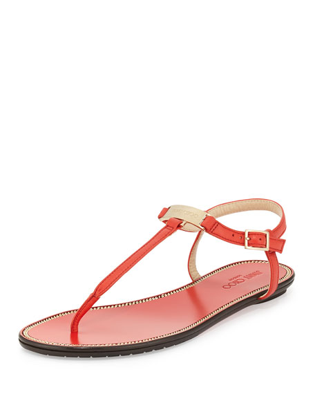 6b895ef1743 Jimmy Choo Wave Leather Thong Sandal