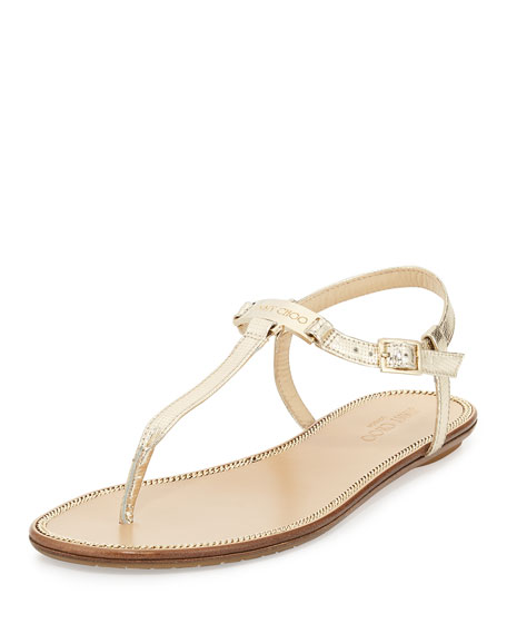 9f965962b32 Jimmy Choo Wave Metallic Leather Thong Sandal