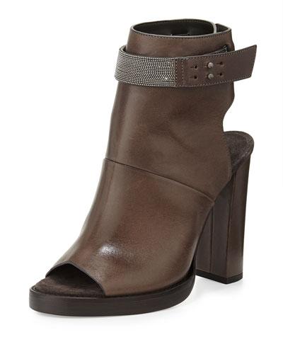 Leather Peep-Toe Ankle Boot