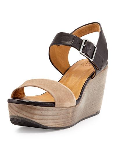 Elo Two-Tone Wedge Sandal, Black