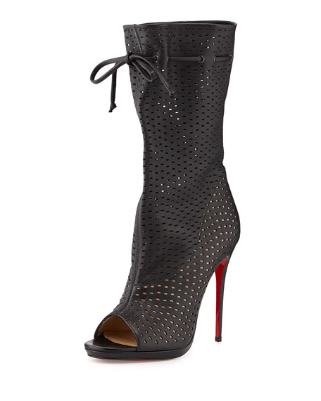 premium selection 51dac f53dc Jennifer Perforated Red Sole Boot Black