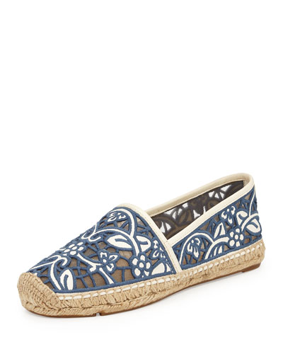 Lucia Lace Espadrille, Ivory/ Medium Blue