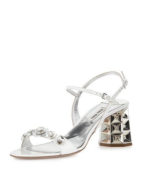 21c69c73dd42 Miu Miu Faceted Jewel-Heel Sandal