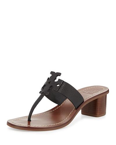 Moore Leather Logo City Sandal, Black