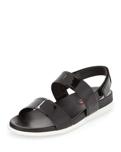 Patent Double Band Sandal, Black