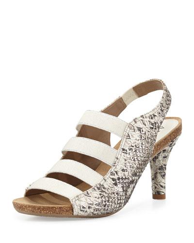 Bridget Snake-Embossed Leather Sandal, Silver