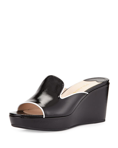 Prada Saffiano Wedge Sandals how much cheap for nice shipping discount authentic cheap sale amazing price 4KXbRnfe