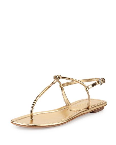 Prada Metallic Flat Thong Sandal