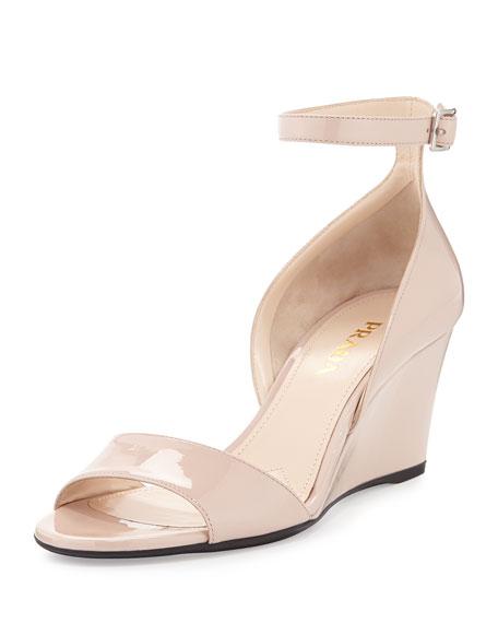 555d2c7aa09 Prada Patent Demi-Wedge Sandal