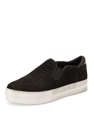 Jungle Platform Python-Print Skate Sneaker, Black