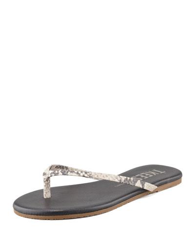 Facepaints Snake-Print Thong Sandal