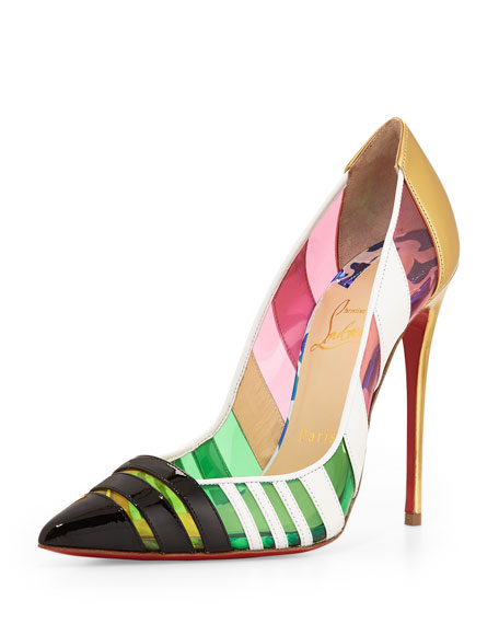 10c2dbe25f3b Christian Louboutin Front Double Multicolor PVC   Leather Red Sole Pump