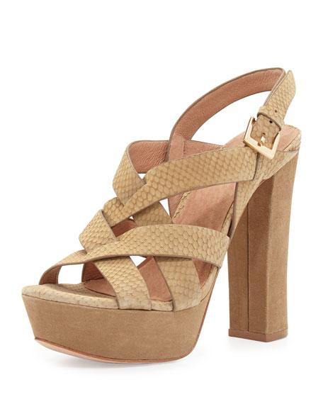5d1b85732563 Joie Inez Snake-Embossed Leather Platform Sandal