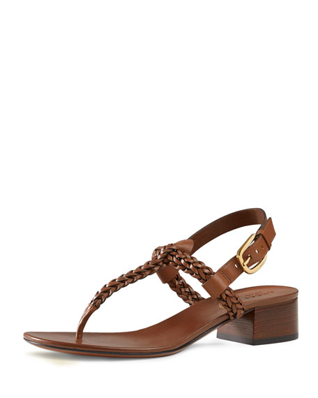 c76085290b28 Gucci Braided Leather Thong Sandal