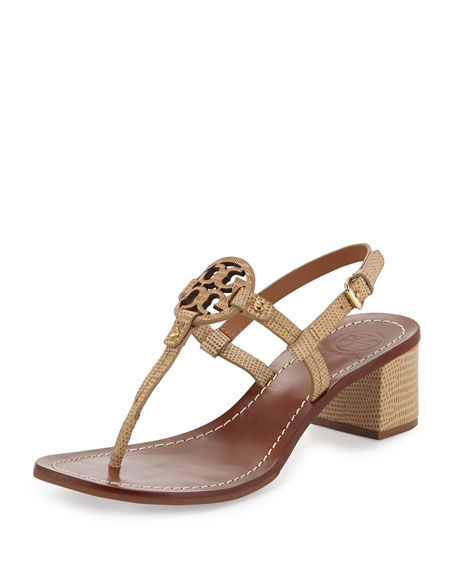 0c9bee931f5 Tory Burch Mini Miller Lizard-Print Thong Sandal