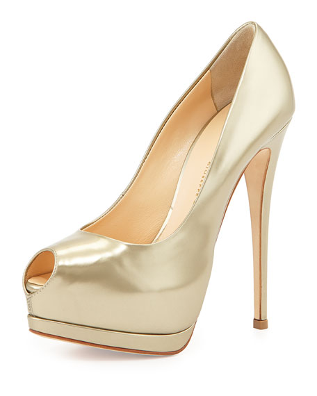fe013ea393a6a Giuseppe Zanotti Metallic Leather Platform Pump, Platinum