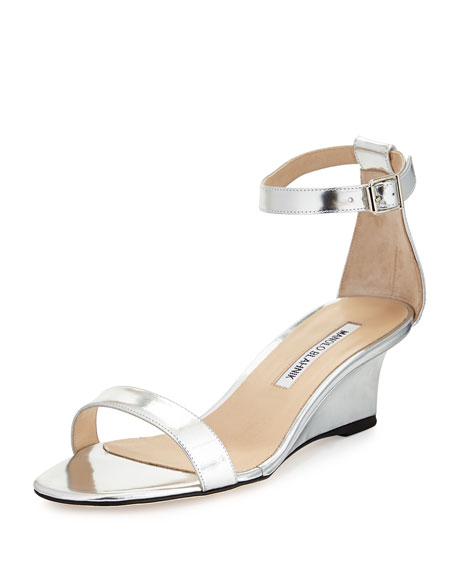 34fed799c75bd Manolo Blahnik Valere Metallic Demi-Wedge Sandal, Silver