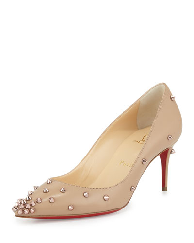 Degraspike Mid-Heel Red Sole Pump, Nude
