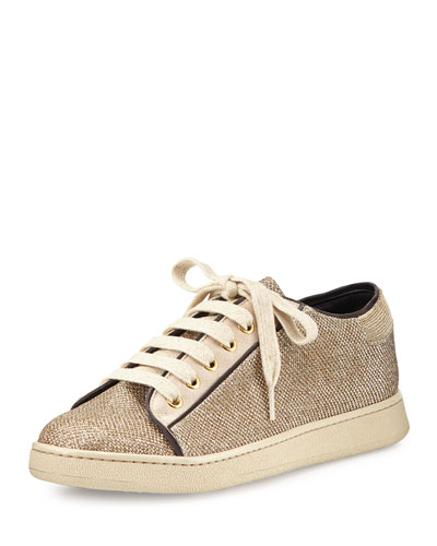 Metallic Lace-Up Sneaker, Gold