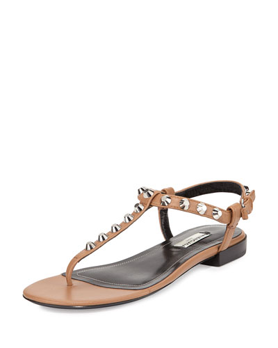 Studded Leather Thong Sandal, Camel