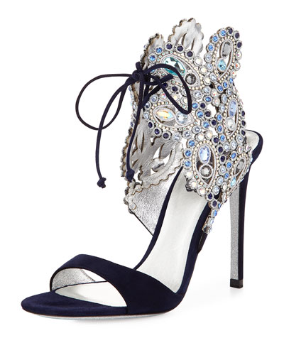 Crystal Ankle-Tie Evening Sandal, Navy Blue
