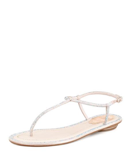 RENé CAOVILLA Crystal-Embellished Satin T-Strap Sandals 7tThcuyyY