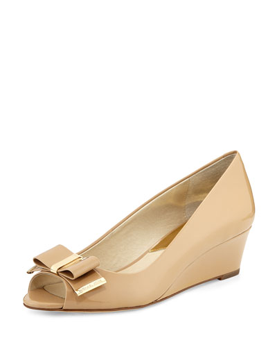 Kiera Open-Toe Wedge Pump, Nude
