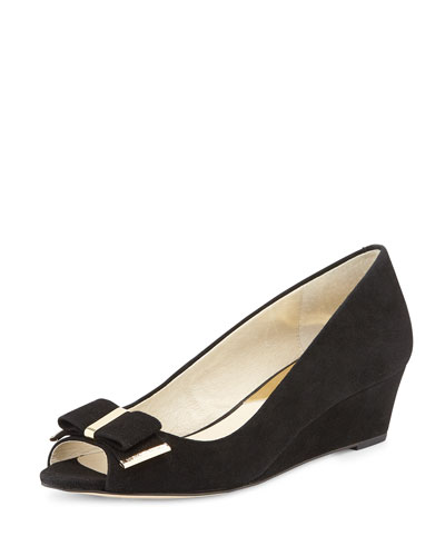 Kiera Open-Toe Wedge Pump, Black