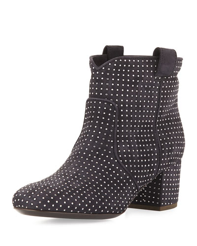 Belen Studded Suede Ankle Boot, Anthracite Navy